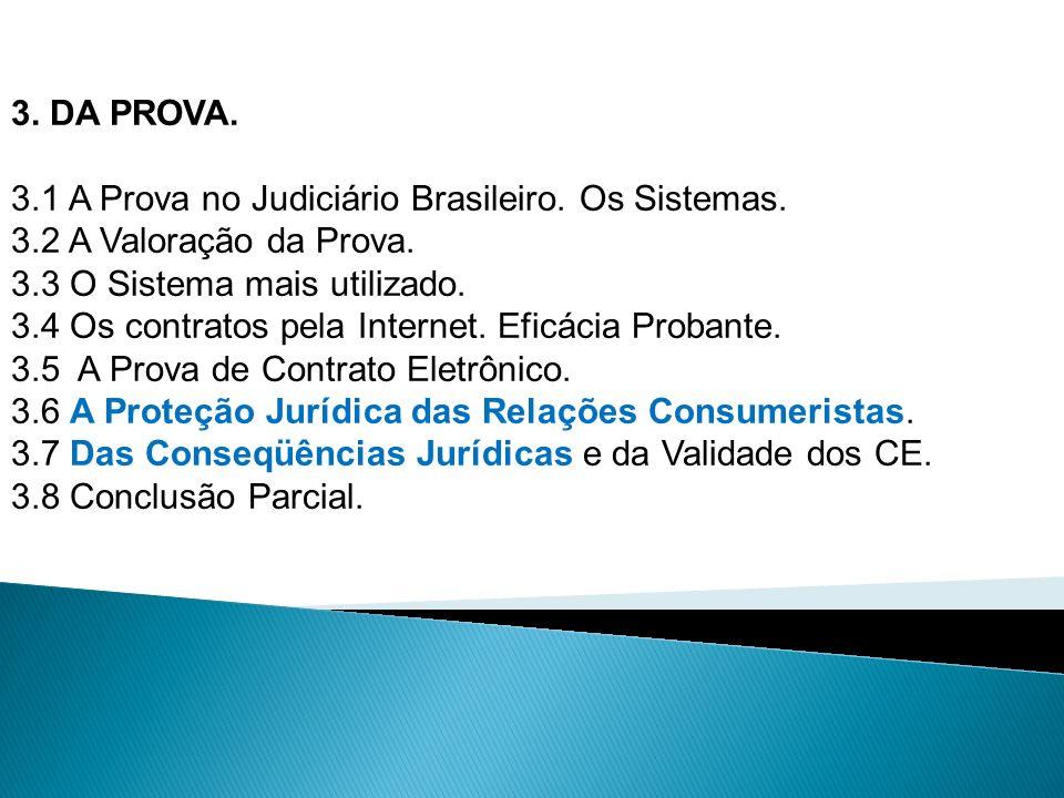 3. DA PROVA. 3.1 A Prova no Judiciário Brasileiro. Os Sistemas. 3.2 A Valoração da Prova. 3.3 O Sistema mais utilizado. 3.4 Os contratos pela Internet