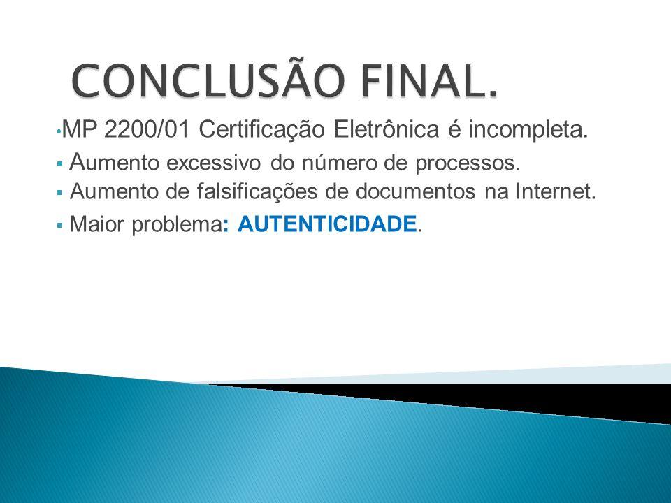 MP 2200/01 Certificação Eletrônica é incompleta. A umento excessivo do número de processos. Aumento de falsificações de documentos na Internet. Maior