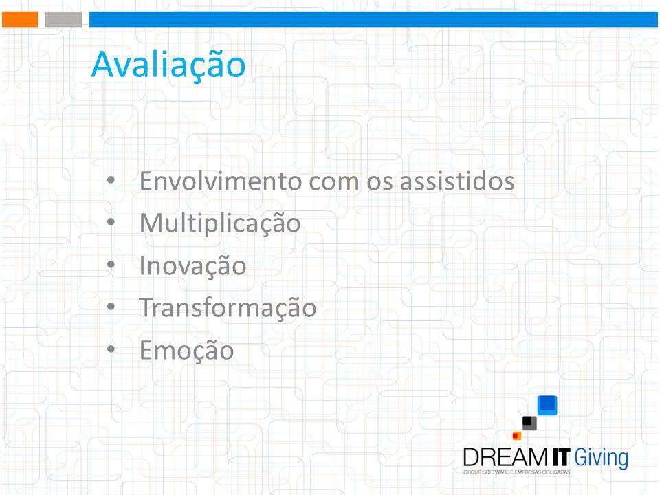 Avaliação Envolvimento com os assistidos Multiplicação Inovação Transformação Emoção