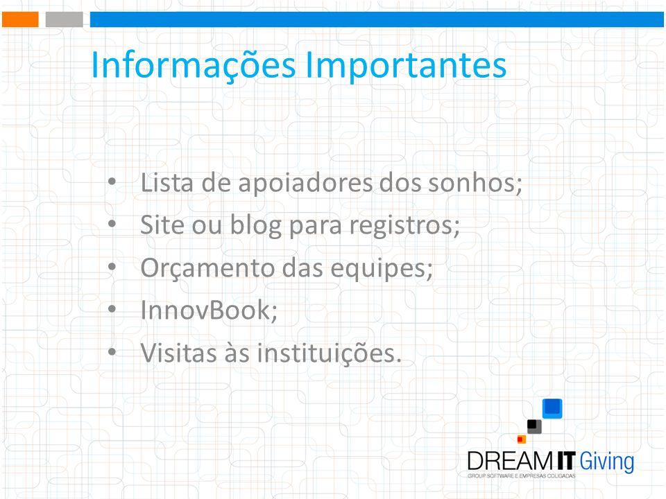 Informações Importantes Lista de apoiadores dos sonhos; Site ou blog para registros; Orçamento das equipes; InnovBook; Visitas às instituições.