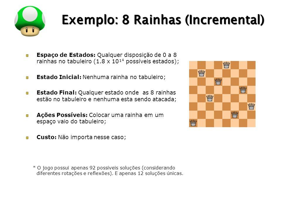 LOGO Exemplo: 8 Rainhas (Incremental) Espaço de Estados: Qualquer disposição de 0 a 8 rainhas no tabuleiro (1.8 x 10¹ possíveis estados); Estado Inici