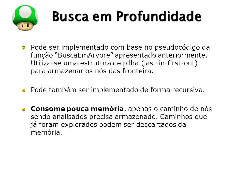 LOGO Busca em Profundidade Pode ser implementado com base no pseudocódigo da função BuscaEmArvore apresentado anteriormente.