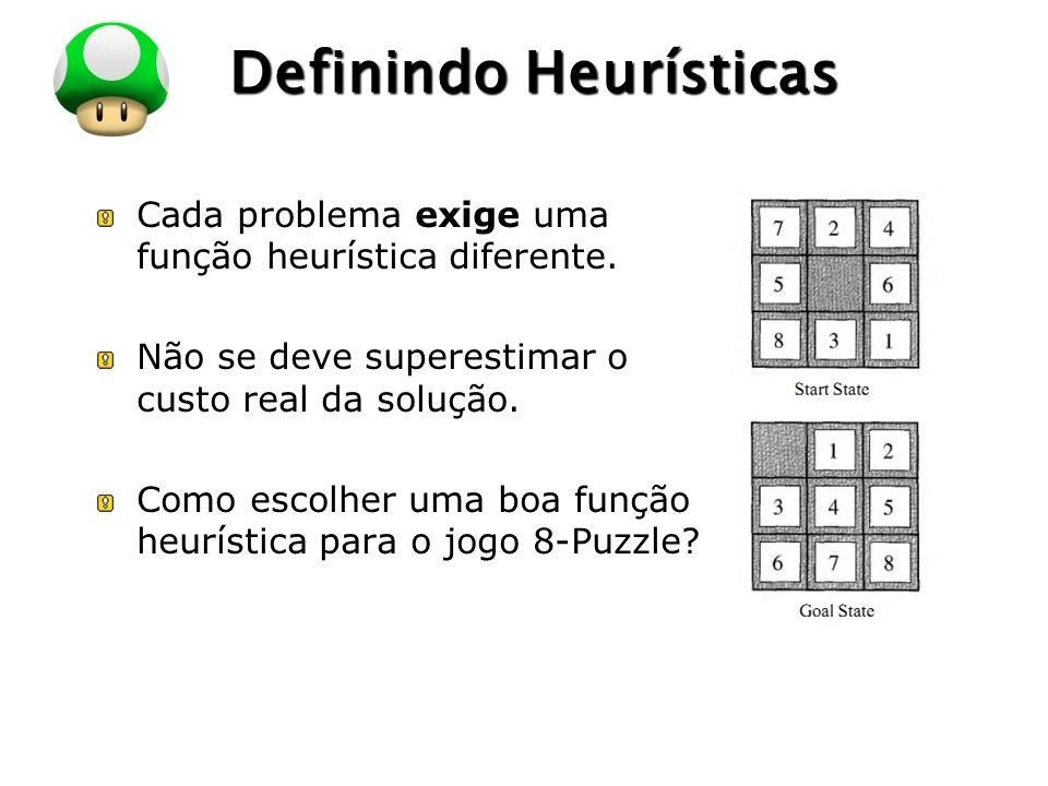 LOGO Definindo Heurísticas Cada problema exige uma função heurística diferente.