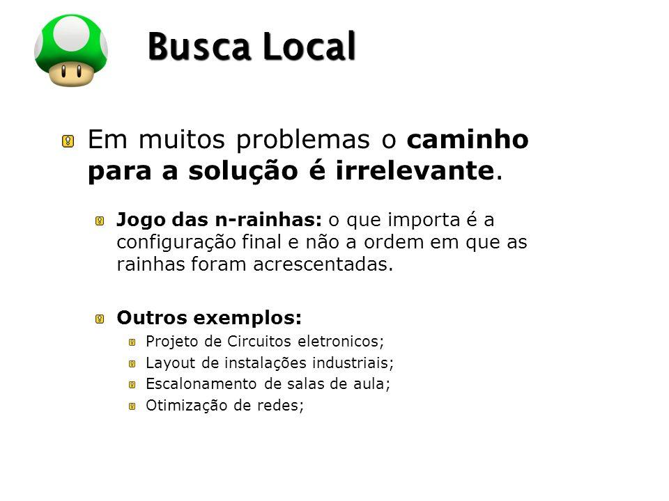 LOGO Busca Local Em muitos problemas o caminho para a solução é irrelevante.