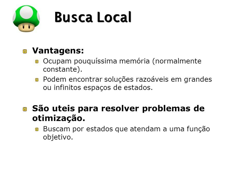 LOGO Busca Local Vantagens: Ocupam pouquíssima memória (normalmente constante).
