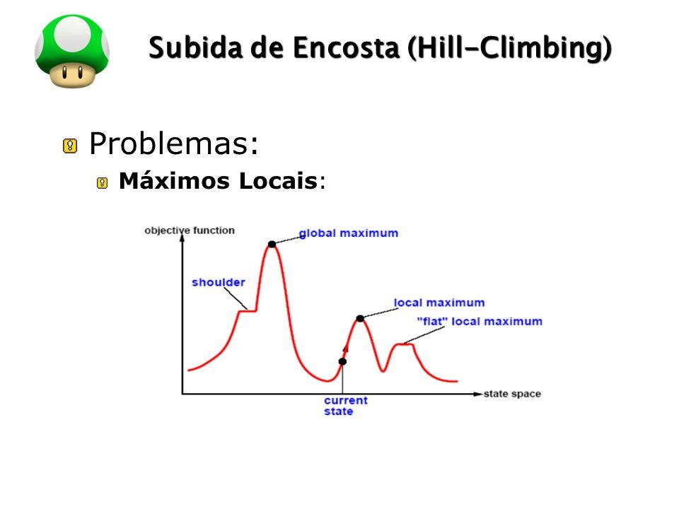 LOGO Subida de Encosta (Hill-Climbing) Problemas: Máximos Locais: