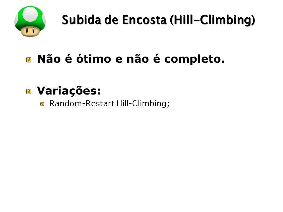 LOGO Subida de Encosta (Hill-Climbing) Não é ótimo e não é completo. Variações: Random-Restart Hill-Climbing;