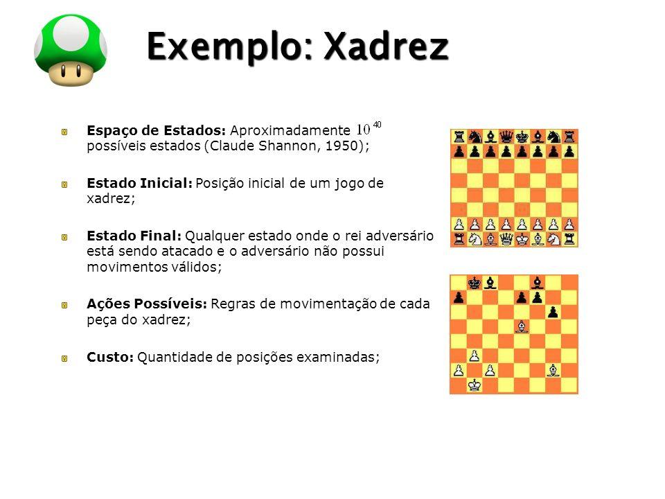 LOGO Exemplo: Xadrez Espaço de Estados: Aproximadamente possíveis estados (Claude Shannon, 1950); Estado Inicial: Posição inicial de um jogo de xadrez