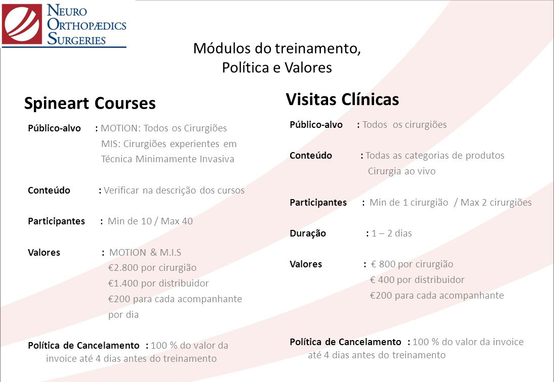 Módulos do treinamento, Política e Valores Público-alvo : MOTION: Todos os Cirurgiões MIS: Cirurgiões experientes em Técnica Minimamente Invasiva Cont