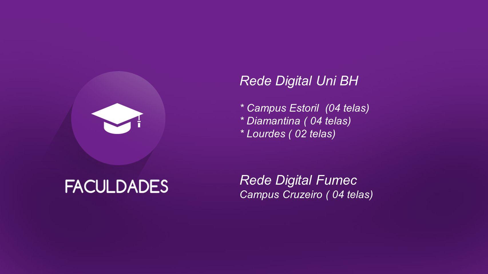 Rede Digital Uni BH * Campus Estoril (04 telas) * Diamantina ( 04 telas) * Lourdes ( 02 telas) Rede Digital Fumec Campus Cruzeiro ( 04 telas)