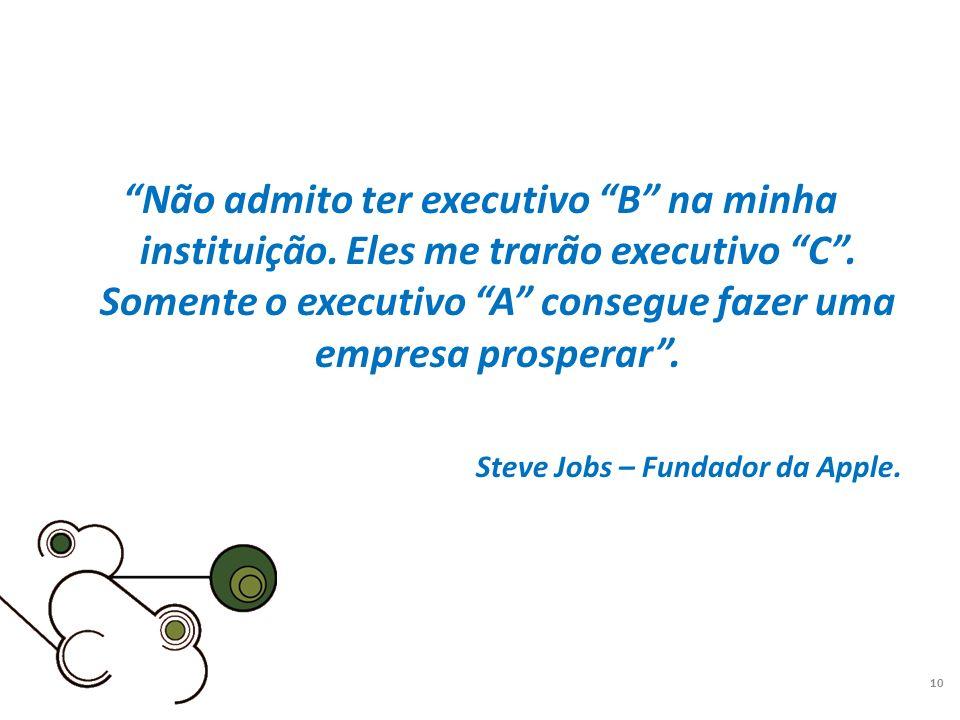 Não admito ter executivo B na minha instituição. Eles me trarão executivo C. Somente o executivo A consegue fazer uma empresa prosperar. Steve Jobs –