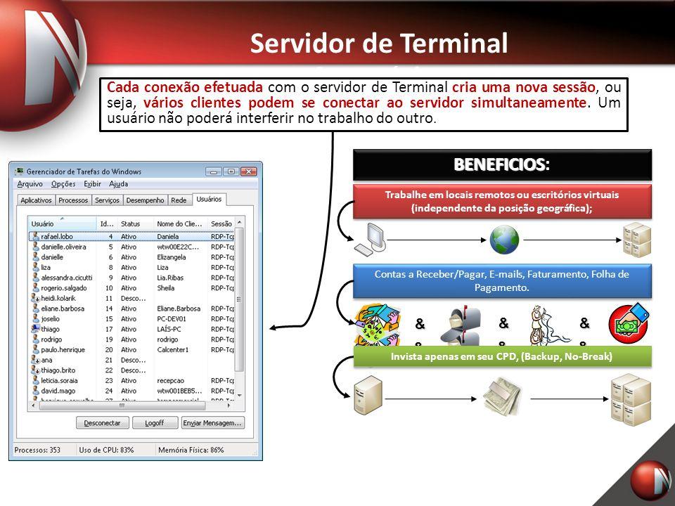 Servidor de Terminal Características Cada conexão efetuadacria uma nova sessão vários clientes podem se conectar ao servidor simultaneamente Cada conexão efetuada com o servidor de Terminal cria uma nova sessão, ou seja, vários clientes podem se conectar ao servidor simultaneamente.