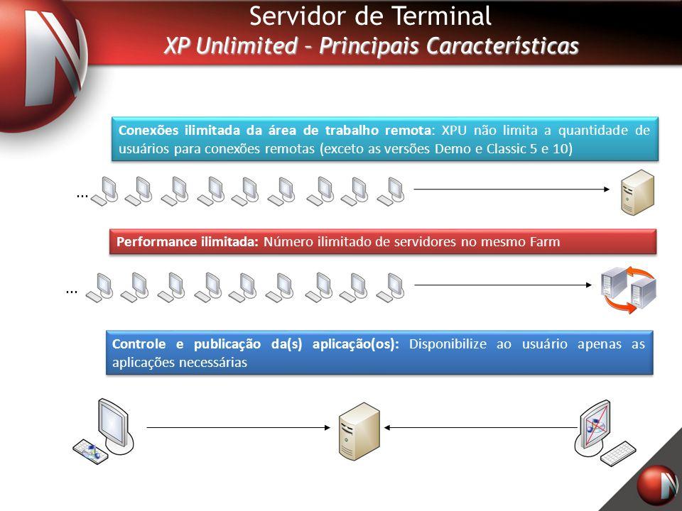 Servidor de Terminal XP Unlimited – Principais Características Conexões ilimitada da área de trabalho remota: XPU não limita a quantidade de usuários para conexões remotas (exceto as versões Demo e Classic 5 e 10) Performance ilimitada: Número ilimitado de servidores no mesmo Farm Controle e publicação da(s) aplicação(os): Disponibilize ao usuário apenas as aplicações necessárias...