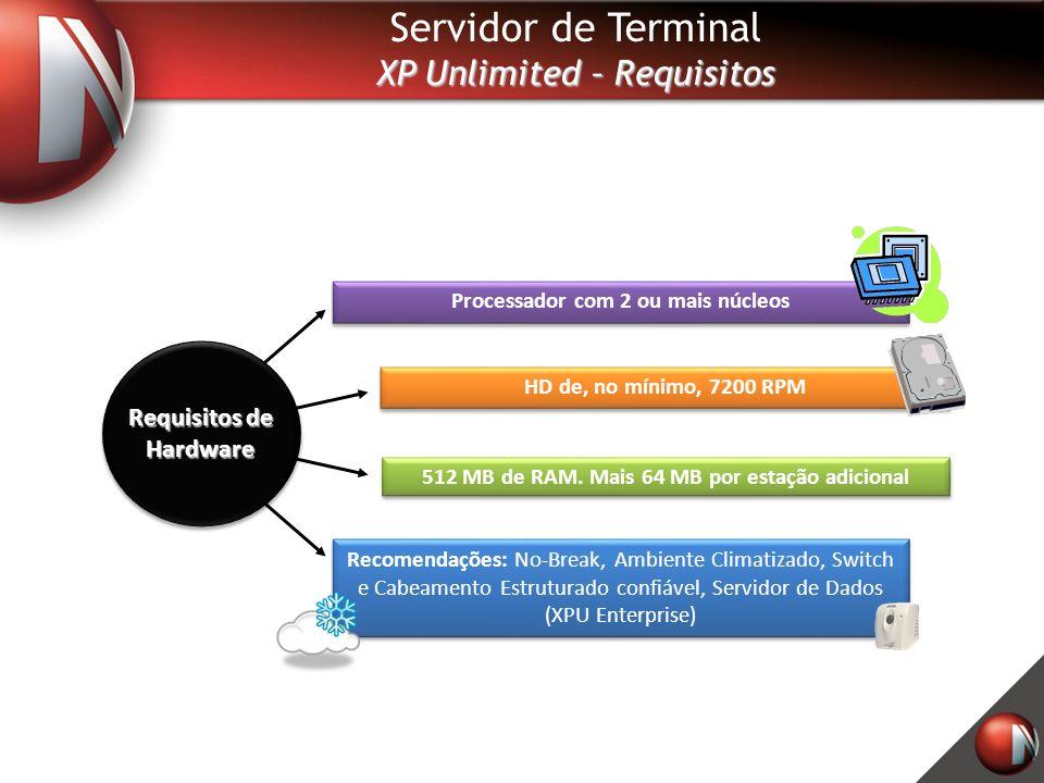 Servidor de Terminal XP Unlimited – Requisitos Processador com 2 ou mais núcleos Recomendações: No-Break, Ambiente Climatizado, Switch e Cabeamento Estruturado confiável, Servidor de Dados (XPU Enterprise) 512 MB de RAM.
