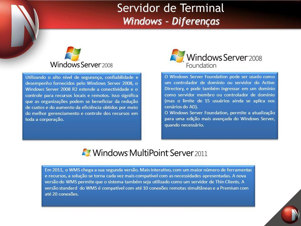Servidor de Terminal Windows – Diferenças O Windows Server Foundation pode ser usado como um controlador de domínio ou servidor do Active Directory, e pode também ingressar em um domínio como servidor membro ou controlador de domínio (mas o limite de 15 usuários ainda se aplica nos cenários do AD).