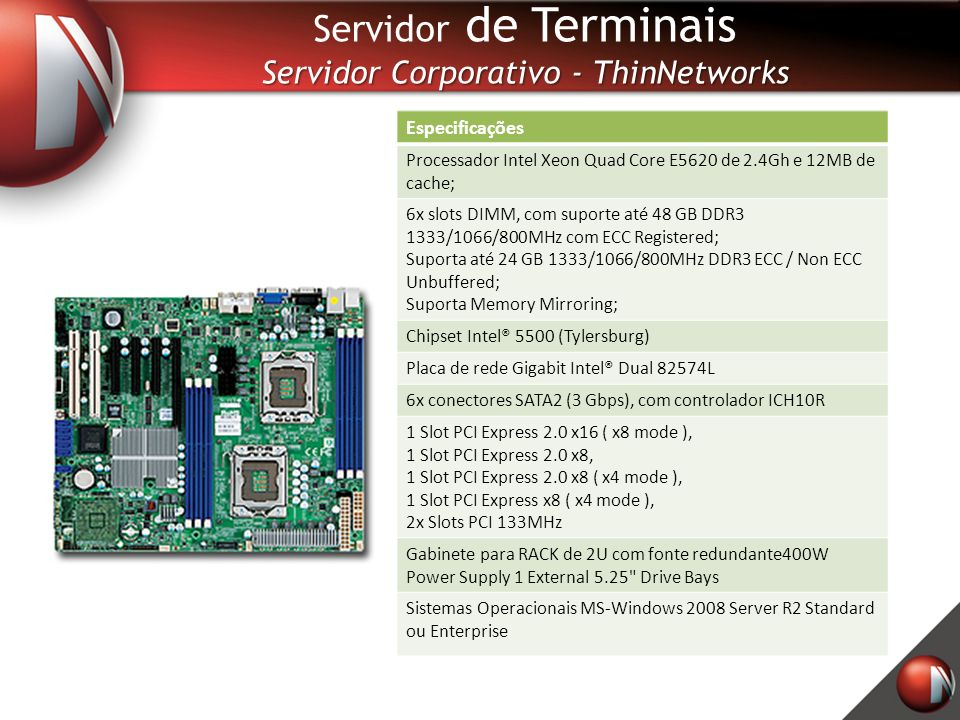Especificações Processador Intel Xeon Quad Core E5620 de 2.4Gh e 12MB de cache; 6x slots DIMM, com suporte até 48 GB DDR3 1333/1066/800MHz com ECC Registered; Suporta até 24 GB 1333/1066/800MHz DDR3 ECC / Non ECC Unbuffered; Suporta Memory Mirroring; Chipset Intel® 5500 (Tylersburg) Placa de rede Gigabit Intel® Dual 82574L 6x conectores SATA2 (3 Gbps), com controlador ICH10R 1 Slot PCI Express 2.0 x16 ( x8 mode ), 1 Slot PCI Express 2.0 x8, 1 Slot PCI Express 2.0 x8 ( x4 mode ), 1 Slot PCI Express x8 ( x4 mode ), 2x Slots PCI 133MHz Gabinete para RACK de 2U com fonte redundante400W Power Supply 1 External 5.25 Drive Bays Sistemas Operacionais MS-Windows 2008 Server R2 Standard ou Enterprise Servidor de Terminais Servidor Corporativo - ThinNetworks