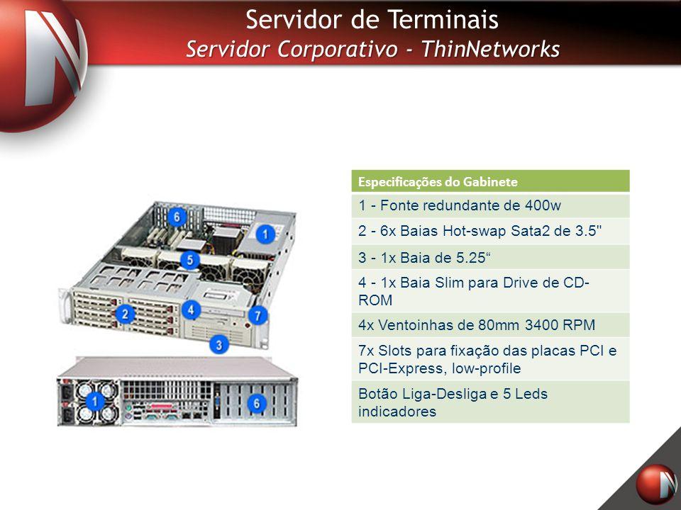 Especificações do Gabinete 1 - Fonte redundante de 400w 2 - 6x Baias Hot-swap Sata2 de 3.5 3 - 1x Baia de 5.25 4 - 1x Baia Slim para Drive de CD- ROM 4x Ventoinhas de 80mm 3400 RPM 7x Slots para fixação das placas PCI e PCI-Express, low-profile Botão Liga-Desliga e 5 Leds indicadores Servidor de Terminais Servidor Corporativo - ThinNetworks