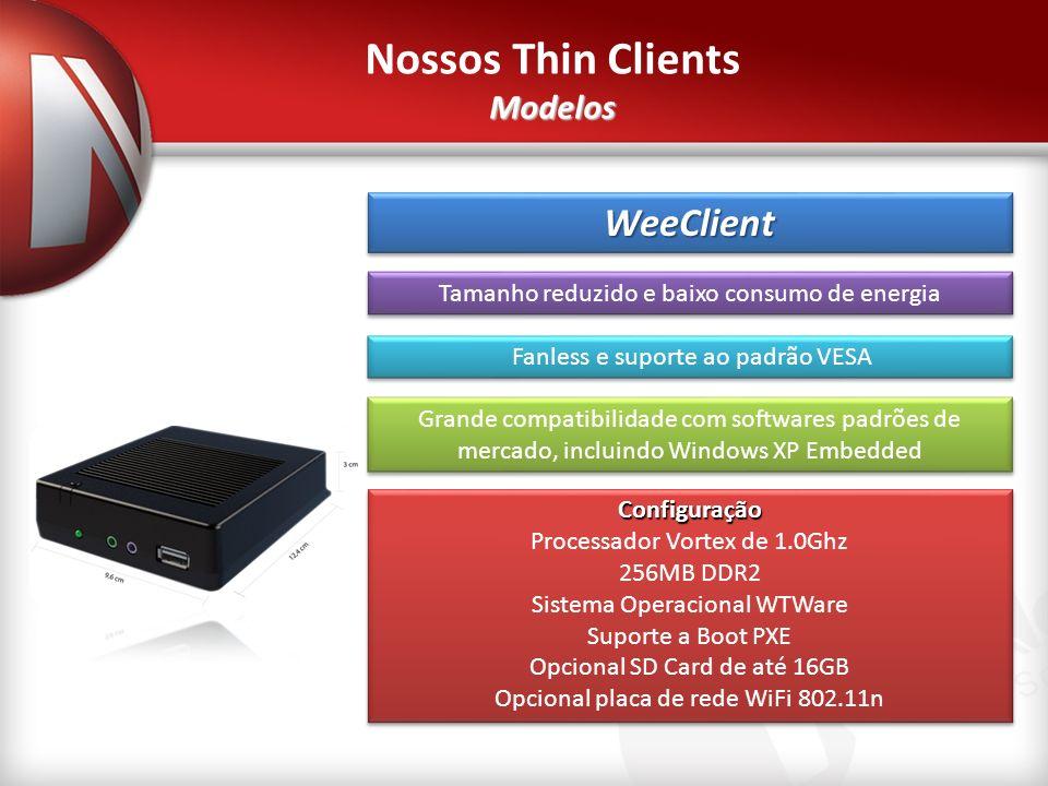 WeeClientWeeClient Tamanho reduzido e baixo consumo de energia.