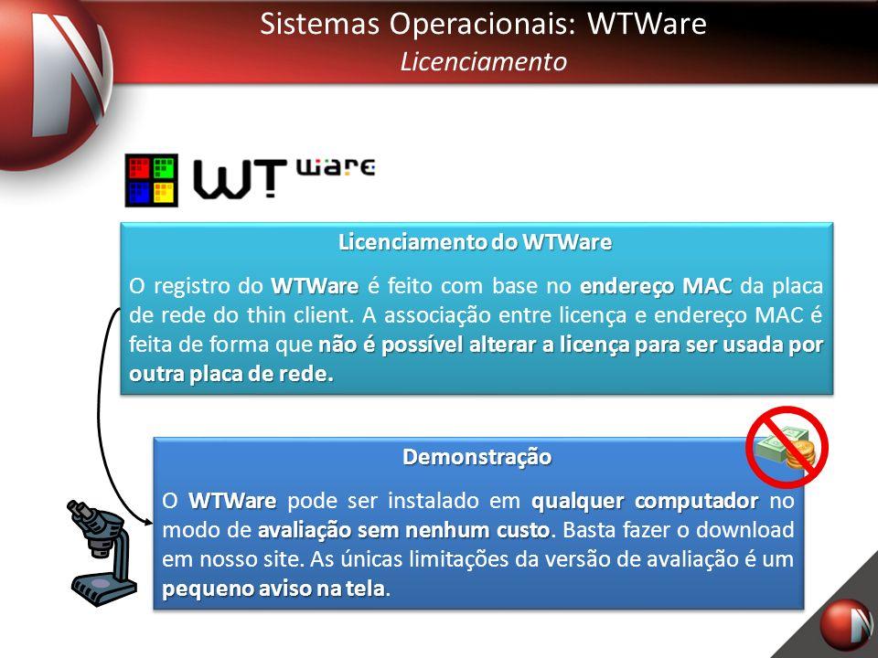 Sistemas Operacionais: WTWare Licenciamento Licenciamento do WTWare WTWareendereço MAC não é possível alterar a licença para ser usada por outra placa de rede.
