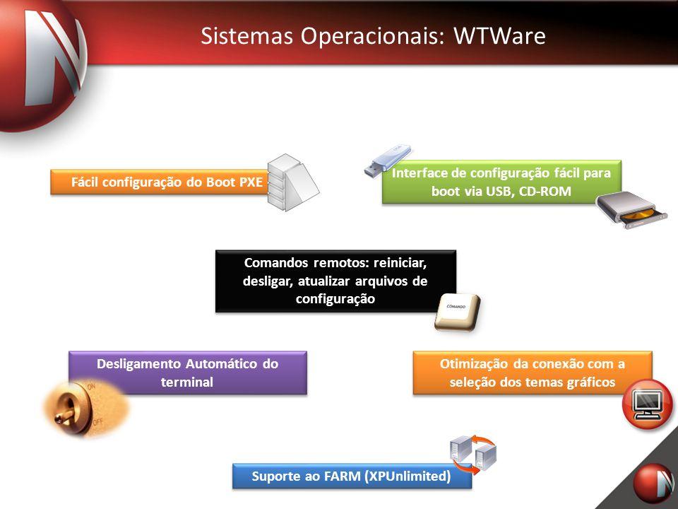 Sistemas Operacionais: WTWare Desligamento Automático do terminal Interface de configuração fácil para boot via USB, CD-ROM Fácil configuração do Boot PXE Comandos remotos: reiniciar, desligar, atualizar arquivos de configuração Otimização da conexão com a seleção dos temas gráficos Suporte ao FARM (XPUnlimited)