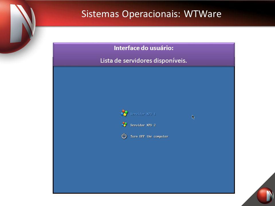 Sistemas Operacionais: WTWare Interface do usuário: Lista de servidores disponíveis.