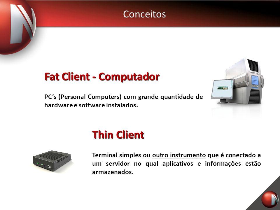 Conceitos Fat Client - Computador PCs (Personal Computers) com grande quantidade de hardware e software instalados.
