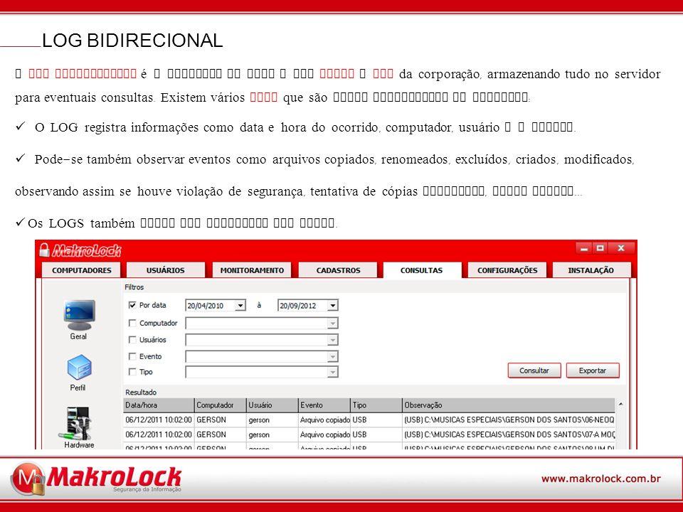 O LOG BIDIRECIONAL é o registro de tudo o que ENTRA e SAI da corporação, armazenando tudo no servidor para eventuais consultas.