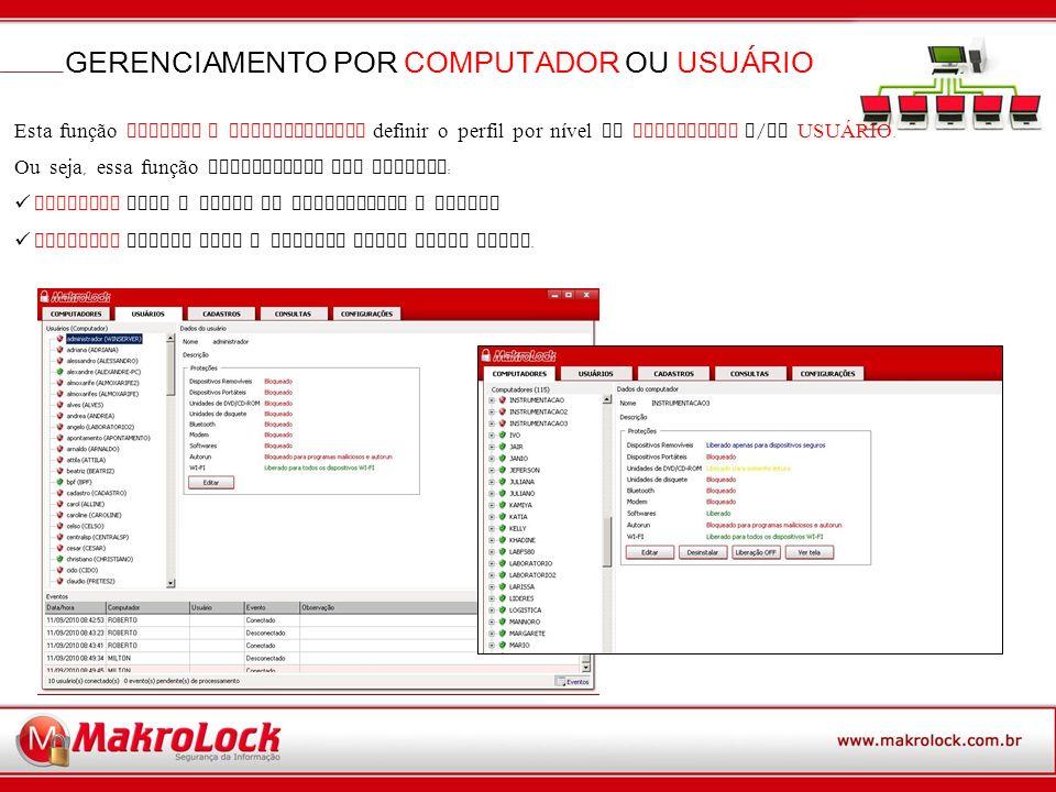 GERENCIAMENTO POR COMPUTADOR OU USUÁRIO Esta função PERMITE O ADMINISTRADOR definir o perfil por nível de COMPUTADOR e / ou USUÁRIO.