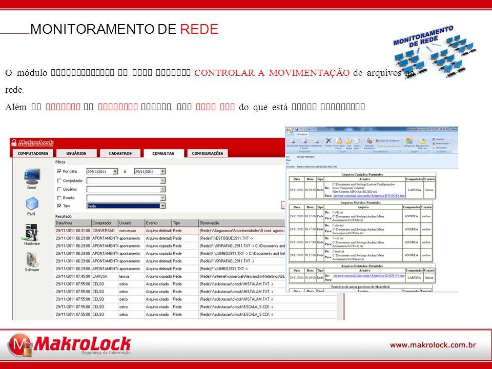 MONITORAMENTO DE REDE O módulo monitoramento de rede permite CONTROLAR A MOVIMENTA Ç ÃO de arquivos na rede.