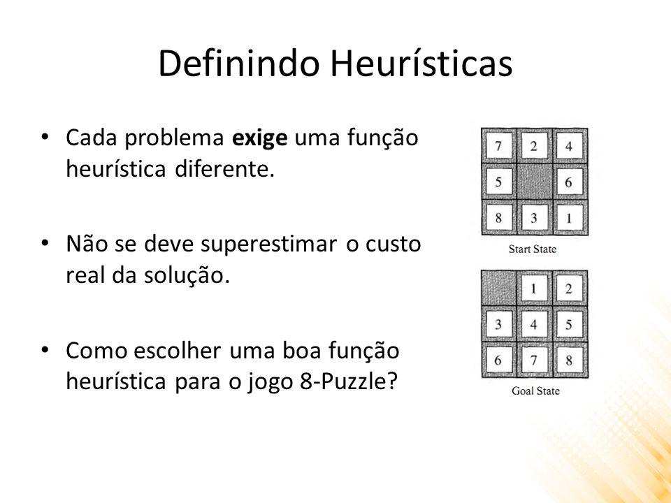 Definindo Heurísticas Cada problema exige uma função heurística diferente.