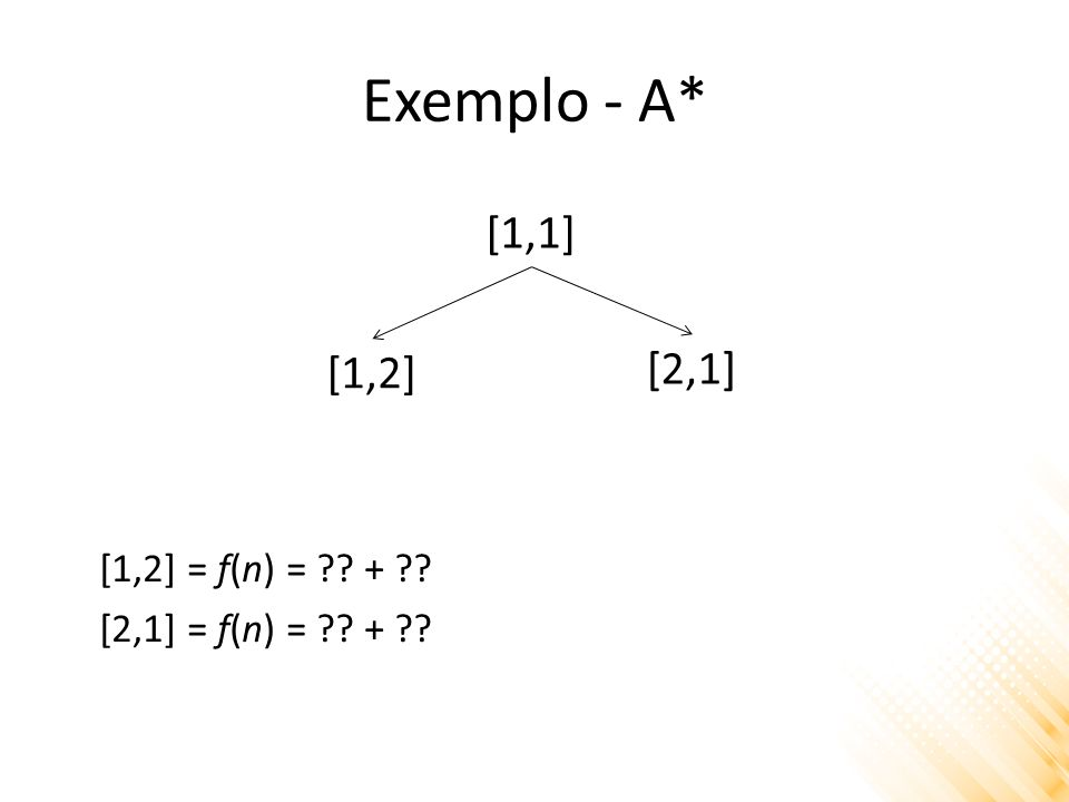 Exemplo - A* 12345 1 X 2 3 4