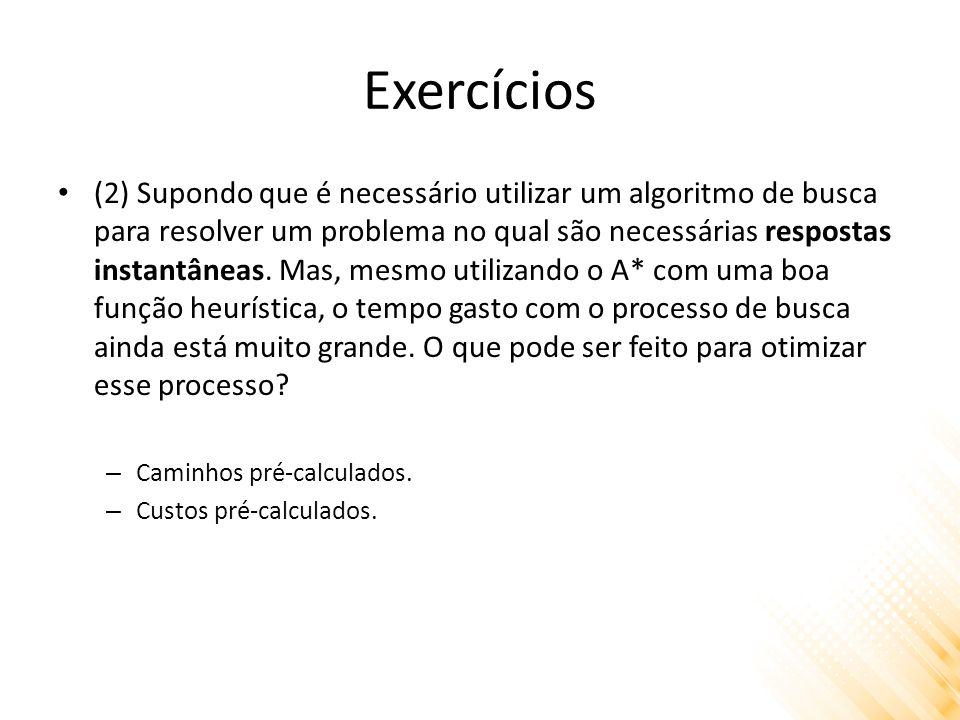 Exercícios (2) Supondo que é necessário utilizar um algoritmo de busca para resolver um problema no qual são necessárias respostas instantâneas.