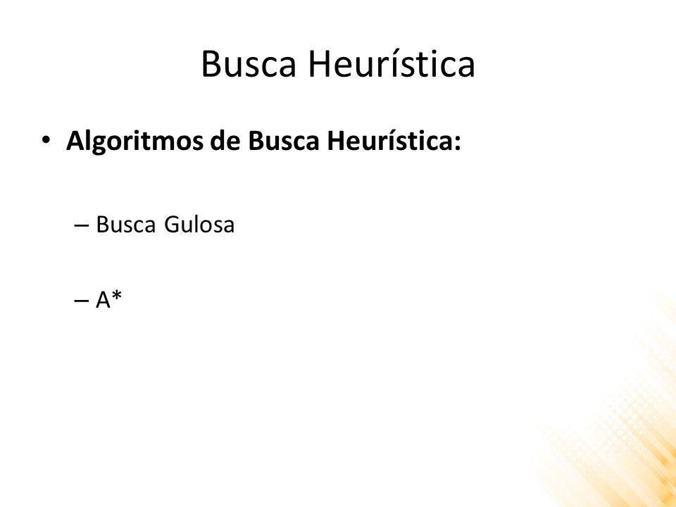 Busca Heurística Algoritmos de Busca Heurística: – Busca Gulosa – A*