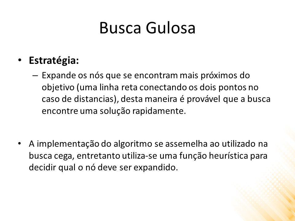 Busca Gulosa Estratégia: – Expande os nós que se encontram mais próximos do objetivo (uma linha reta conectando os dois pontos no caso de distancias), desta maneira é provável que a busca encontre uma solução rapidamente.