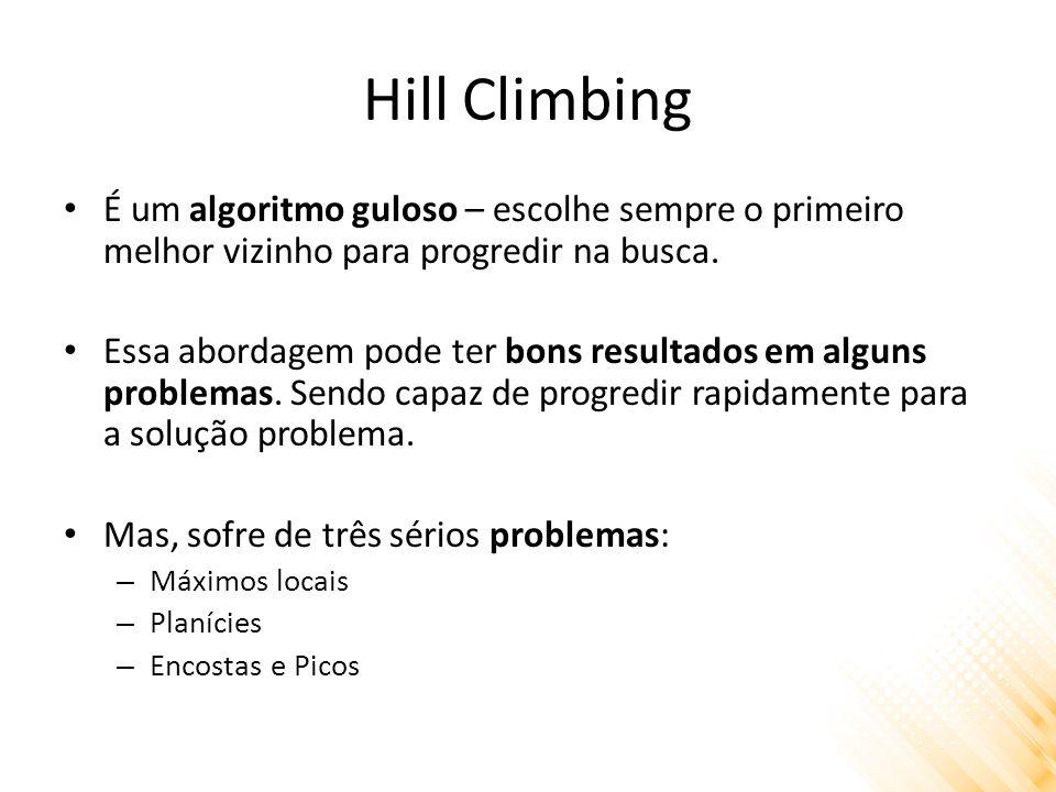 Hill Climbing É um algoritmo guloso – escolhe sempre o primeiro melhor vizinho para progredir na busca. Essa abordagem pode ter bons resultados em alg