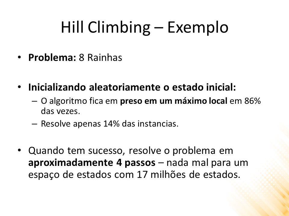 Hill Climbing – Exemplo Problema: 8 Rainhas Inicializando aleatoriamente o estado inicial: – O algoritmo fica em preso em um máximo local em 86% das v