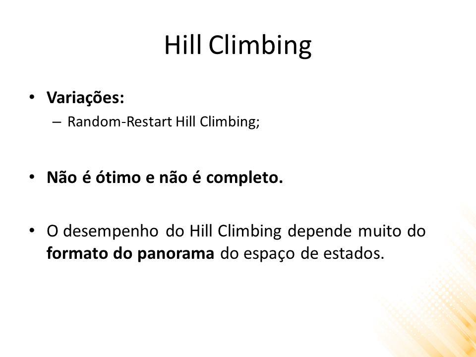 Hill Climbing Variações: – Random-Restart Hill Climbing; Não é ótimo e não é completo. O desempenho do Hill Climbing depende muito do formato do panor