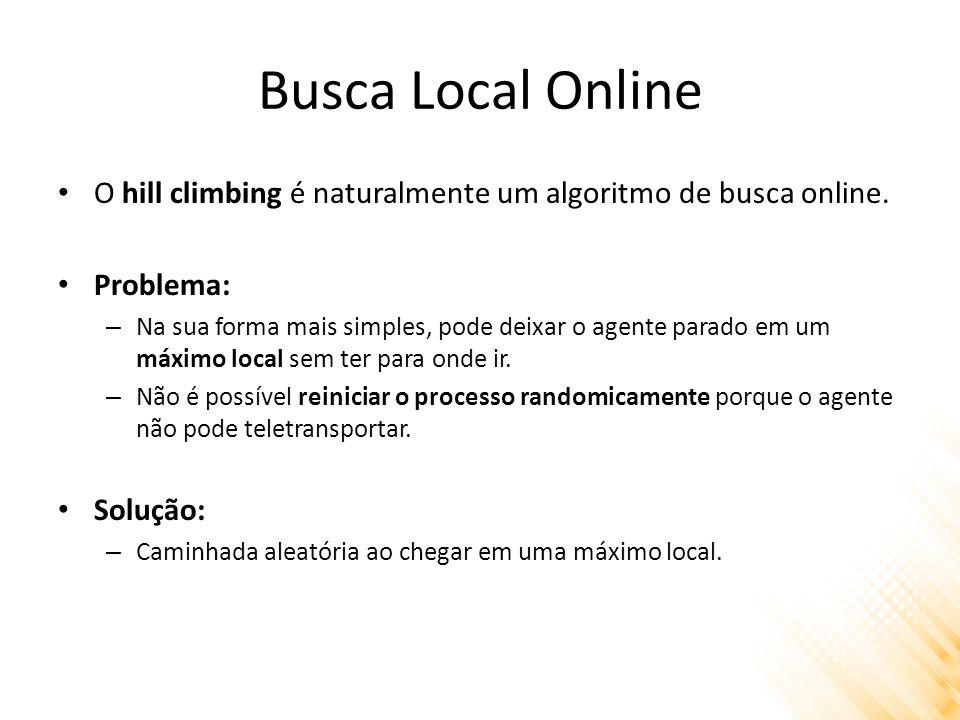 Busca Local Online O hill climbing é naturalmente um algoritmo de busca online. Problema: – Na sua forma mais simples, pode deixar o agente parado em