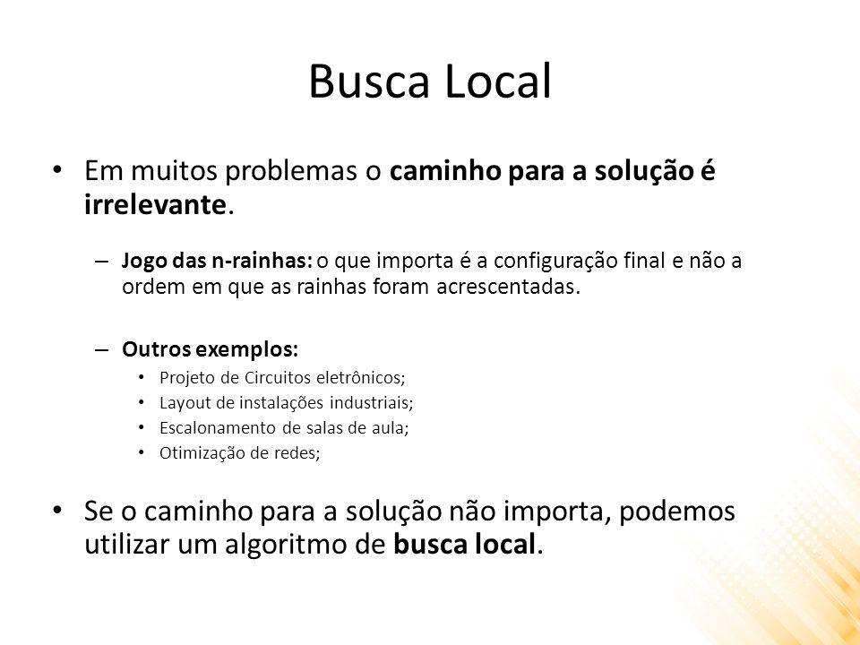 Busca Local Algoritmos de busca local operam sobre um único estado corrente, ao invés de vários caminhos.