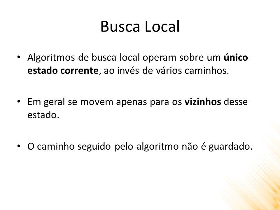 Busca Local Algoritmos de busca local operam sobre um único estado corrente, ao invés de vários caminhos. Em geral se movem apenas para os vizinhos de