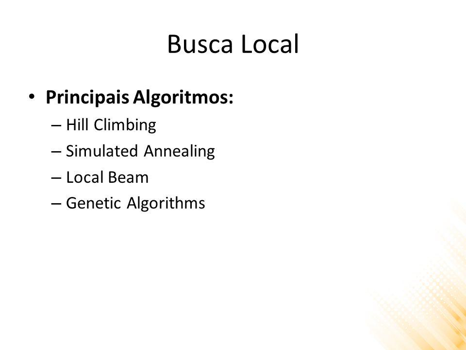 Busca Local Principais Algoritmos: – Hill Climbing – Simulated Annealing – Local Beam – Genetic Algorithms