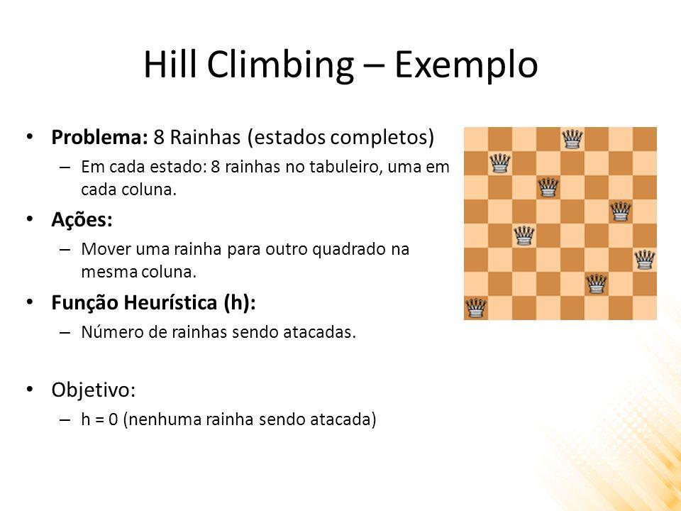 Hill Climbing – Exemplo Problema: 8 Rainhas (estados completos) – Em cada estado: 8 rainhas no tabuleiro, uma em cada coluna. Ações: – Mover uma rainh
