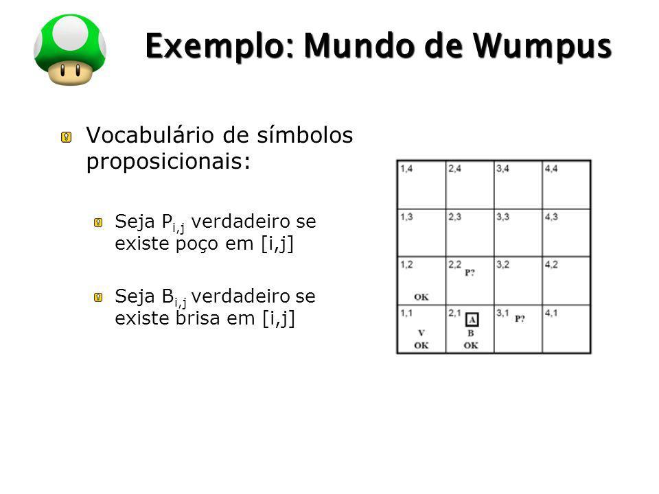 LOGO Exemplo: Mundo de Wumpus Vocabulário de símbolos proposicionais: Seja P i,j verdadeiro se existe poço em [i,j] Seja B i,j verdadeiro se existe br