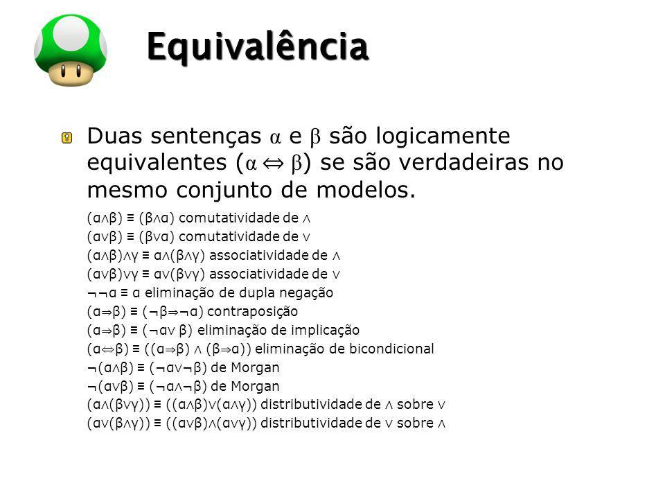 LOGO Equivalência Duas sentenças α e β são logicamente equivalentes ( α β ) se são verdadeiras no mesmo conjunto de modelos. (α β) (β α) comutatividad