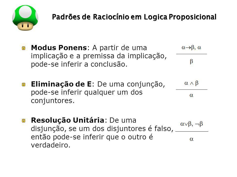 LOGO Padrões de Raciocínio em Logica Proposicional Modus Ponens: A partir de uma implicação e a premissa da implicação, pode-se inferir a conclusão. E
