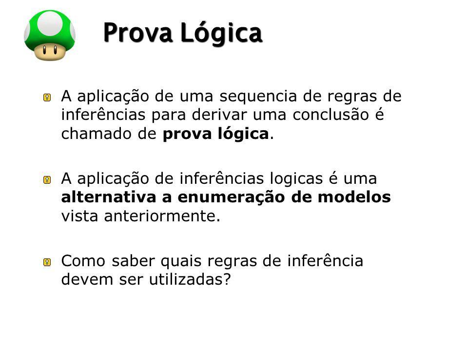 LOGO Prova Lógica A aplicação de uma sequencia de regras de inferências para derivar uma conclusão é chamado de prova lógica. A aplicação de inferênci