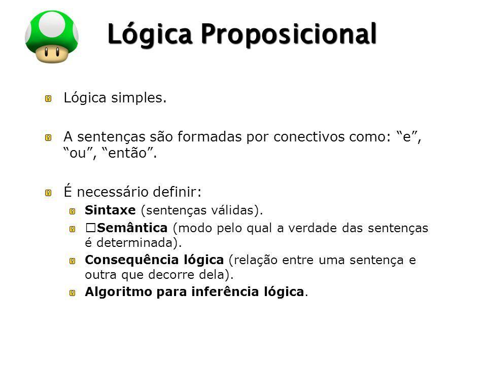 LOGO Lógica Proposicional Lógica simples. A sentenças são formadas por conectivos como: e, ou, então. É necessário definir: Sintaxe (sentenças válidas
