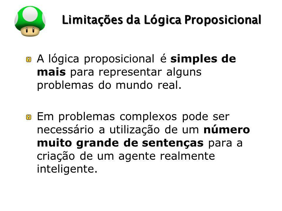 LOGO Limitações da Lógica Proposicional A lógica proposicional é simples de mais para representar alguns problemas do mundo real. Em problemas complex