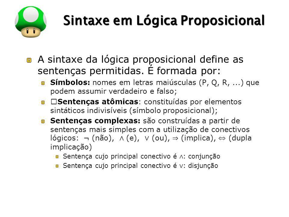 LOGO Sintaxe em Lógica Proposicional A sintaxe da lógica proposicional define as sentenças permitidas. É formada por: Símbolos: nomes em letras maiúsc