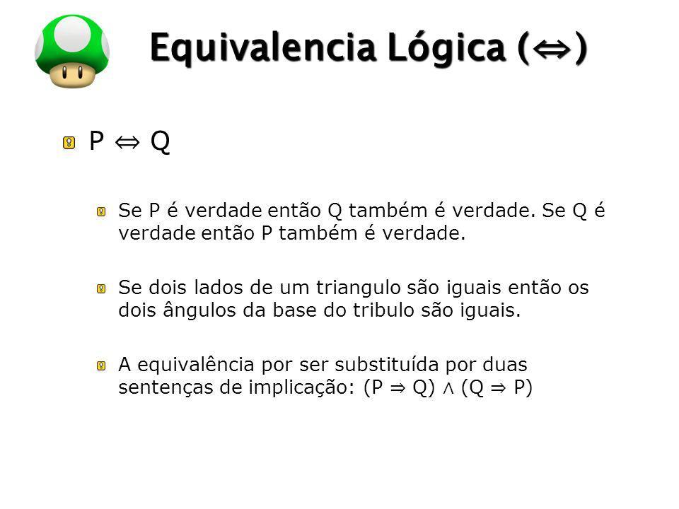 LOGO Equivalencia Lógica () P Q Se P é verdade então Q também é verdade. Se Q é verdade então P também é verdade. Se dois lados de um triangulo são ig